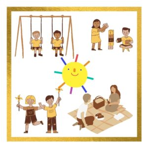 Kids playing swing, building blocks, playing with the windmill toy, setting a picnic table for family. All under the sun in the summer time for the article from a toddler to a preschooler