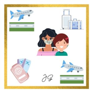Aeroplane taking off, luggage, woman wearing mask with a girl child next to her, tickets and passport, finally aeroplane landing with a caption terrified travel amidst corona mom and daughter